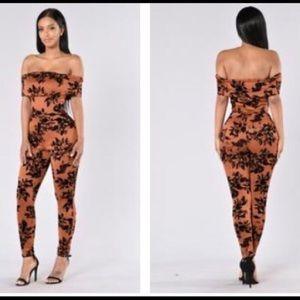 Fashion Nova • Rust Jumpsuit with Floral Design